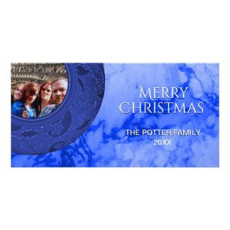Merry Christmas Marbleized Blue Holiday Photo Card