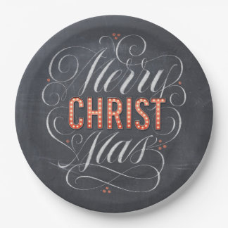 Merry CHRISTmas Marquee Chalkboard Calligraphy Paper Plate