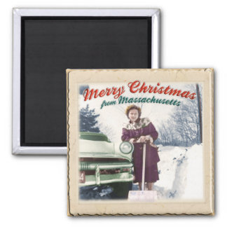 Merry Christmas / Massachusetts Magnet