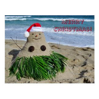 Merry Christmas Mele Kalikimaka Sandman Snowman Postcard