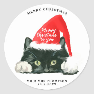 merry christmas meowy christmas sticker gift wrap