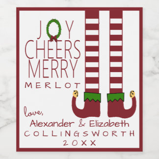 Merry Christmas Merlot Wine Label Personalize