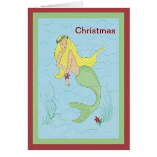 Merry Christmas Mermaid Card