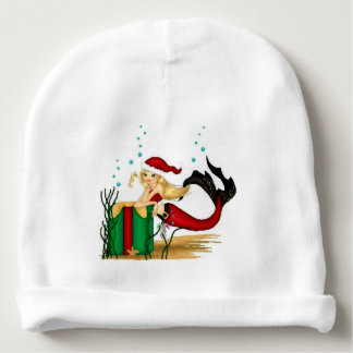 merry christmas mermaid santa baby hat baby beanie