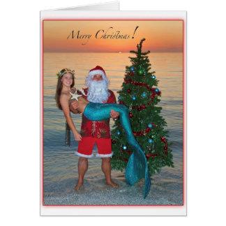 Merry Christmas Mermaid with Santa on the Beach Card