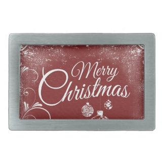 merry christmas message rectangular belt buckles
