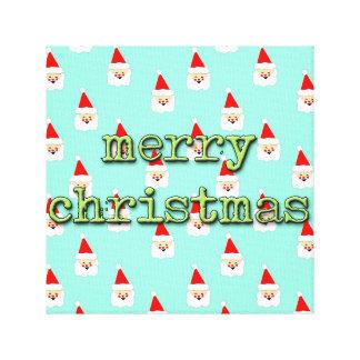merry christmas mid century modern santa claus canvas print