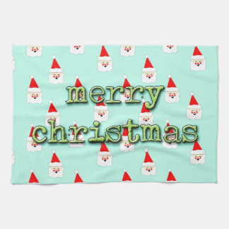 merry christmas mid century modern santa claus kitchen towel