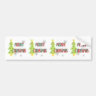 merry christmas mid century modern tree red blue bumper sticker