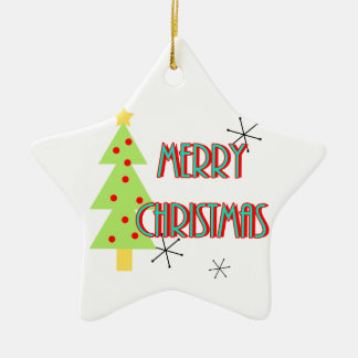 merry christmas mid century modern tree red blue ceramic ornament