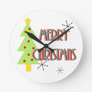 merry christmas mid century modern tree red blue clock