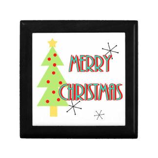 merry christmas mid century modern tree red blue gift box