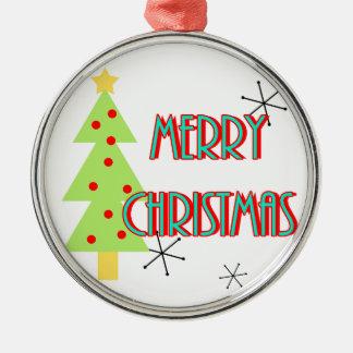 merry christmas mid century modern tree red blue metal ornament