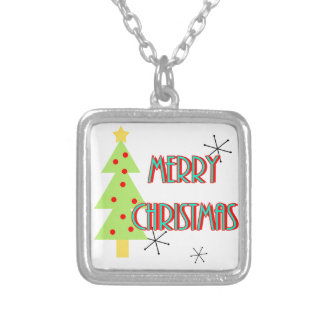 merry christmas mid century modern tree red blue silver plated necklace