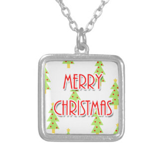 merry christmas mid century modern trees silver plated necklace