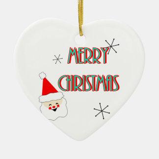 merry christmas mid century santa claus ceramic ornament