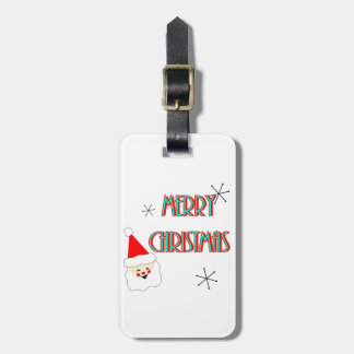 merry christmas mid century santa claus luggage tag