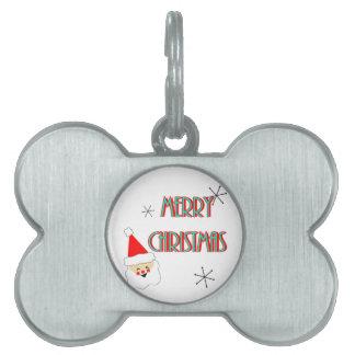 merry christmas mid century santa claus pet tags