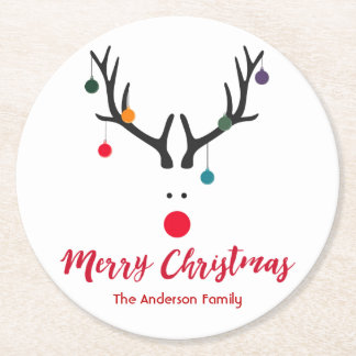 Merry Christmas minimalist and cute reindeer white Round Paper Coaster