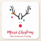 Merry Christmas minimalist and cute reindeer white Square Paper Coaster