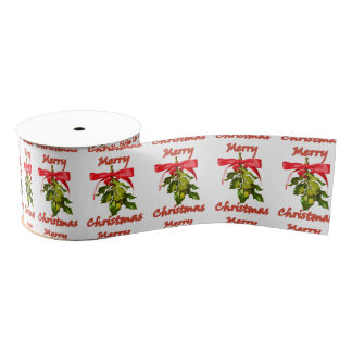 merry christmas mistletoe grosgrain ribbon
