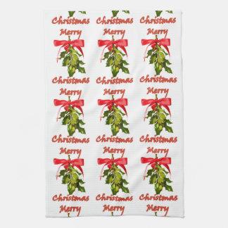 merry christmas mistletoe kitchen towel