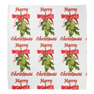 merry christmas mistletoe pattern bandana