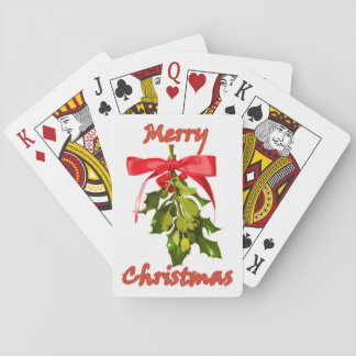 Merry Christmas mistletoe Playing Cards