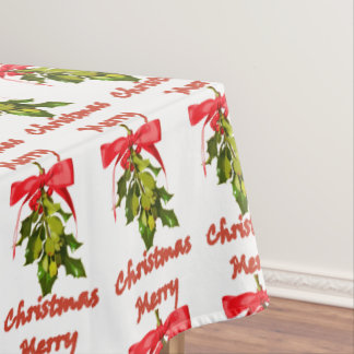 merry christmas mistletoe tablecloth