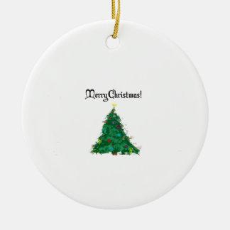 Merry Christmas Modern Art Tree Ceramic Ornament