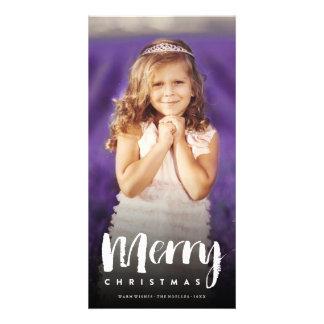 Merry Christmas Modern Brush Holiday Photo Card