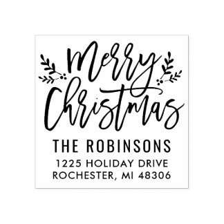 Merry Christmas | Modern Script Address Rubber Stamp