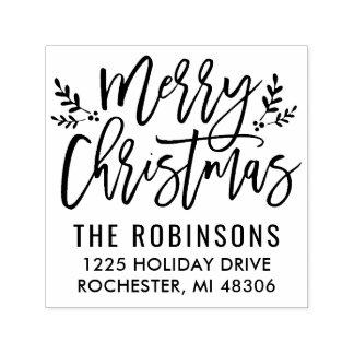 Merry Christmas   Modern Script Address Self-inking Stamp
