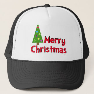 Merry Christmas, Modern Tree Trucker Hat