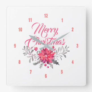Merry Christmas Modern Typography Flowers Bouquet Square Wall Clock