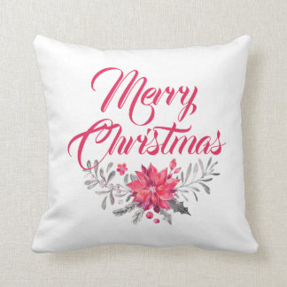 Merry Christmas  Modern Typography & Flowers Throw Pillow