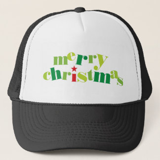 merry christmas modern typography trucker hat