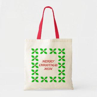 Merry Christmas Mom Custom Holly Gift Bag