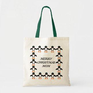 Merry Christmas Mom Custom Penguin Gift Bag