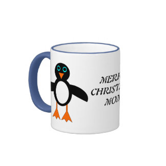 Merry Christmas Mom Custom Penguin Mug