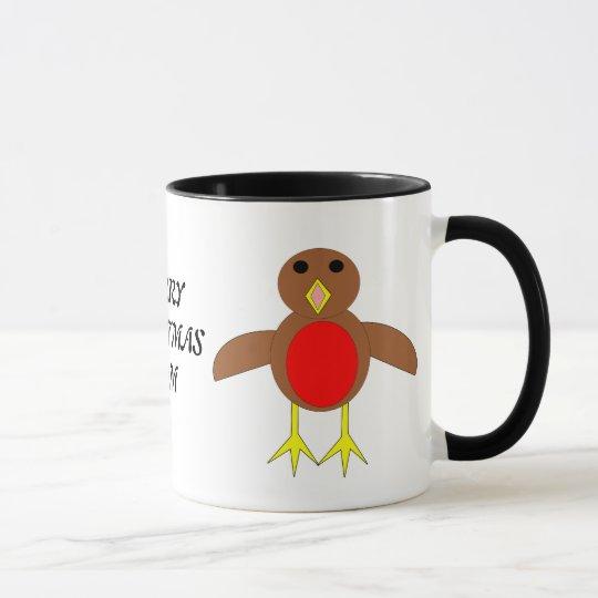Merry Christmas Mom Custom Robin Mug