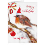 merry christmas Mom, cute sparrow red hat ornament Greeting Card