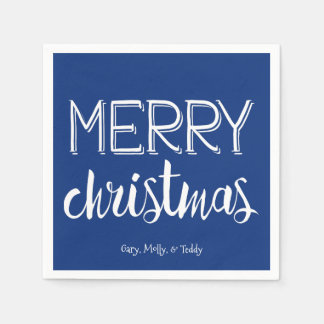 Merry Christmas Monogram Holiday Napkin