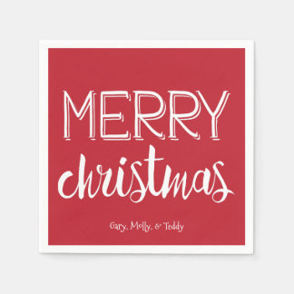 Merry Christmas Monogram Holiday Napkin Paper Napkin