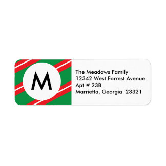 Merry Christmas | Monogram Return Address Label
