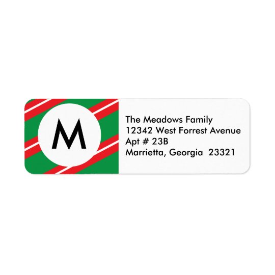 Merry Christmas | Monogram Return Address Label