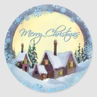 MERRY CHRISTMAS MOON by SHARON SHARPE Classic Round Sticker