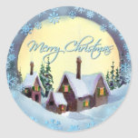 MERRY CHRISTMAS MOON by SHARON SHARPE Round Stickers