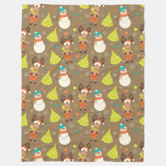 Merry Christmas Moose And Snowman Fleece Blanket