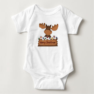Merry Christmas Moose Baby Bodysuit